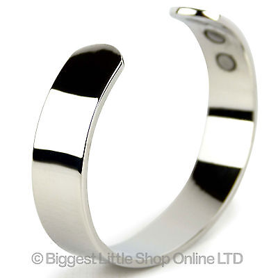 Chunky MAGNETIC Copper Bangle Chrome Finish 6 Magnets HEALTH Hands Wrists