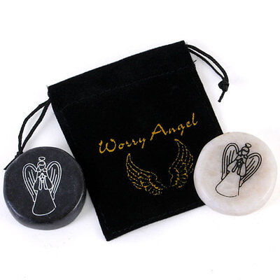 Worry Angel Stone in Gorgeous Black Pouch ~ Beautiful Gift ~ Black or White