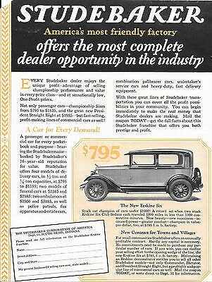 1928 Two-Sided Studebaker Automobile & Firetruck Ad Flyer