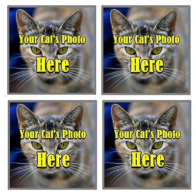 Your Own Cats Photo Personalised Set Of 4 Coasters - Brand New - Gift / Present • EUR 6,57