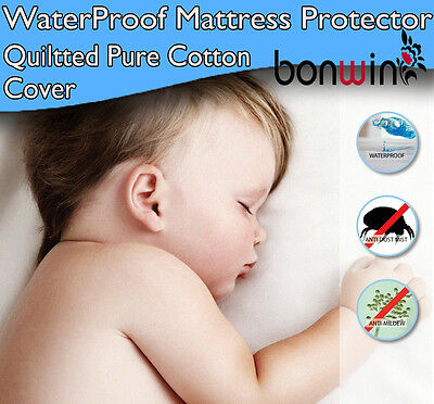 Waterproof Mattress Protector/Pillow Protector Cotton Quilted Cover Fully Fitted