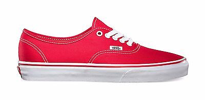 Vans Authentic Canvas Low Top Shoes Women Size Sneakers VN000EE3RED - Red/White