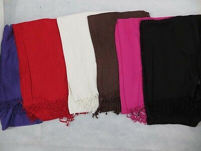US SELLER-wholeasale 12 Solid color 100% pashmina scarves shawl wrap stole