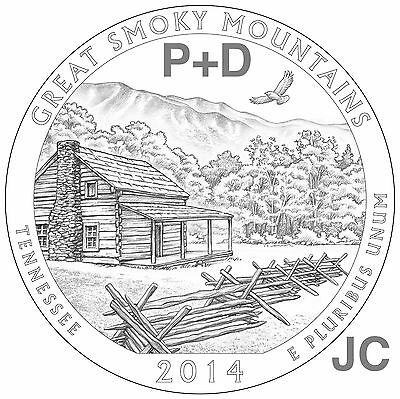 2014 P&D Great Smoky Mountains National PARK QUARTER STATE TN SET BU Smokey Mtns
