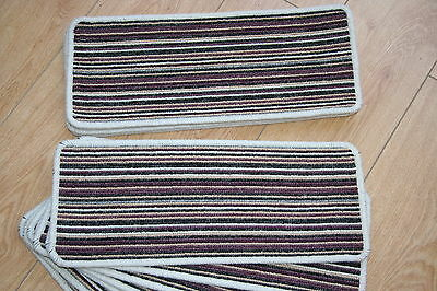 14 Stripey Open Plan Carpet Stair Treads Purple Pads! 14 Large Pads! Stripe