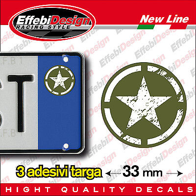 ADESIVI stickers bollini targa/plate Stella SoftAir Militare GREEN JEEP new!!