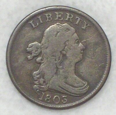 1803 BUST HALF CENT *RARE* C-1 Variety 97,900 Minted F+/VF Detailing - Nice Tone