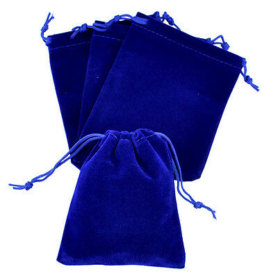 "lot of 25 50 100 Blue 3""x 4"" Jewelry Pouches Velvet Gift Bags Wedding Favors"