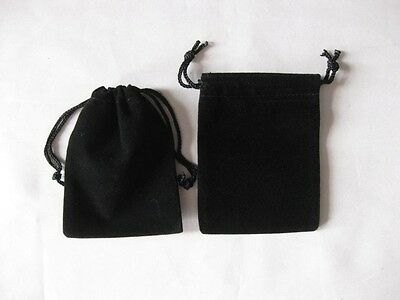 """lot of 25 50 100 Black 5""""x 7"""" Jewelry Pouches Velvet Gift Bags Wedding Favors"""