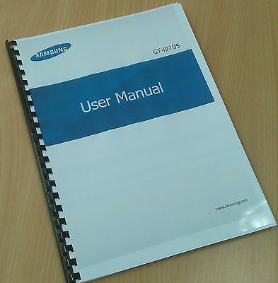 Printed Samsung Galaxy S4 Mini Phone Instruction Manual / User Guide GT-I9195