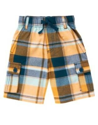 GYMBOREE GONE SURFIN/' YELLOW PLAID SHORTS 3 4 5 6 12 NWT