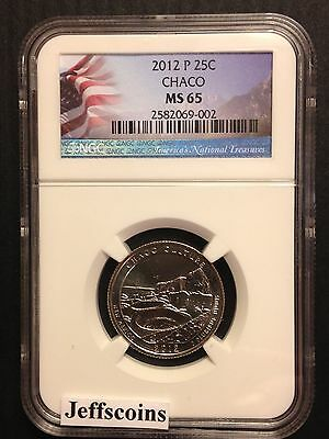 2012 P NGC MS65 Clad CHACO CULTURE National Historic PARK QUARTER NM Flag Gift