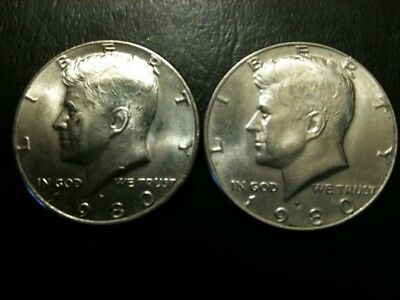 1980 P&D Kennedy Half Dollar Set AU/BU Clad no Silver US 50 Cent About UNC MS