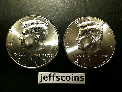 2012 P&D Kennedy Half Dollar Set GEM BU via PD MINT ROLL Clad No Silver 50 Cent