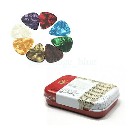 50 Lot Multi Color Guitar Picks Mixed + Tin Plate Box Metal Mini Pick Case New