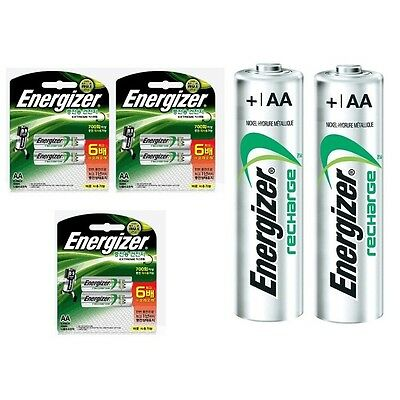 ENERGIZER NH15BP2 RECHARGEABLE NI-MH BATTERIES 2300mAh AA 6 Pack /GENUINE