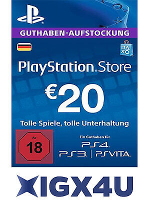 PSN Playstation Network Card Karte Key 20€ 20 EUR Prepaid Card Sony PS3 PS4 - DE