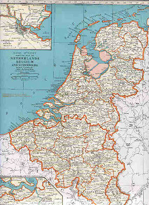 1942  Vintage  Map NETHERLANDS BELGIUM LUXEMBOURG / FRANCE
