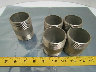 """Lot of 5 2""""NPT Stainless Steel 316 SS Sch 40 Pipe Nippls 4-2-1/2"""" 1-3"""""""