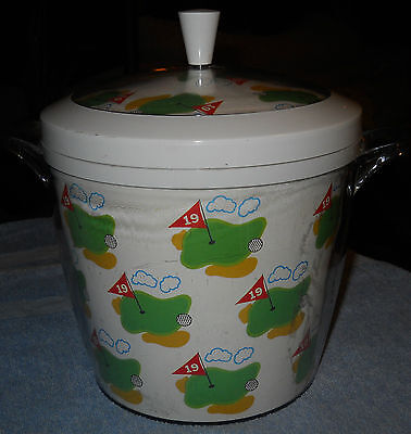 Golf Ice Champagne Bucket~19th Hole~White with Lide~Golf Ball Green~Nice