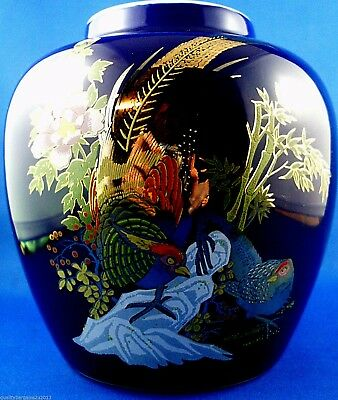 Vintage JAPANESE Cobalt Blue PORCELAIN PHEASANT Ginger Jar or Vase In Australia