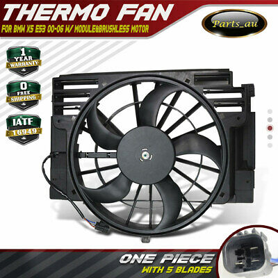 Condenser Thermo Fan for BMW E53 X5 00-06 5 Blades With Module&Brushless Motor