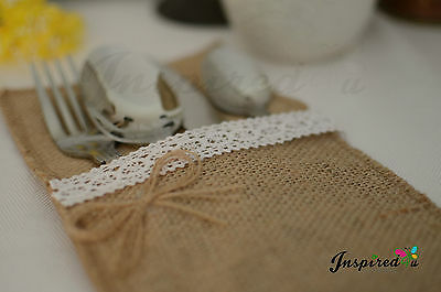 Cutlery holders wedding decor burlap pouches hessian rustic lace party supplies