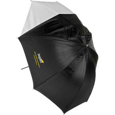 Impact Convertible Umbrella - White Satin with Removable Black Backing - 45""