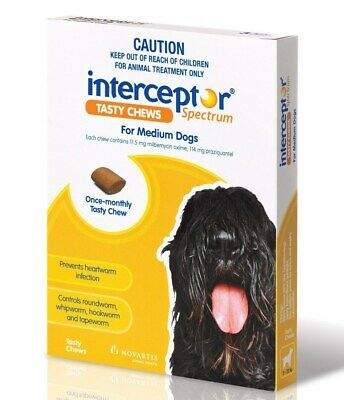 Interceptor for Dogs Chewable Wormer - Yellow 3 Pack for Medium Dog 11-22kg