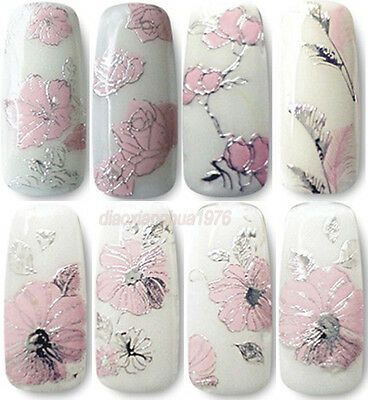 High Quality 3D Pink Flowers Nail Art Stickers Decorations Hot Stamping Series