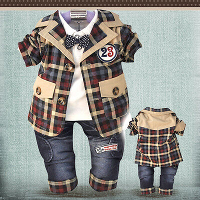 Toddler Boy 3 PC Outfit Set Plaid Suit Size 1-4 Years Jacket+Top+Jeans!