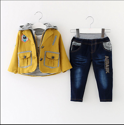 Toddler Boy 3 PC Outfit Set Casual Suit Size 1-6 Years Jacket+Top+Jeans !!