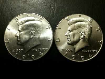 1994 P&D Kennedy Half Dollar Set AU/BU Clad no Silver 50 Cent Clad About UNC MS