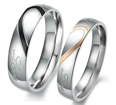"""Couple Heart Stainless Steel Promise Wedding Rings Band """"Real Love"""" Ship from US"""