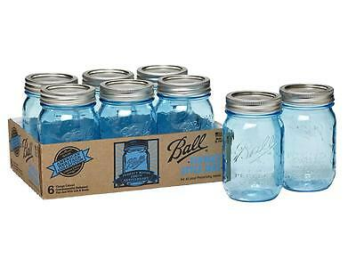 Ball Mason Heritage Collection Blue Pint Jars x 6 Limited EDITION  Flat post