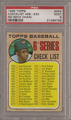 1968 Topps #454.1 Checklist space between hat Frank Card Frank Robinson