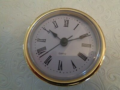 "2-1/2"" (65mm) QUARTZ CLOCK FIT-UP/Insert, Gold Trim, Roman Numeral, White Face"