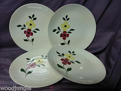 4 RARE Vintage BLUE RIDGE RED YELLOW  FLOWER SOUTHERN POTTERIES  PLATES