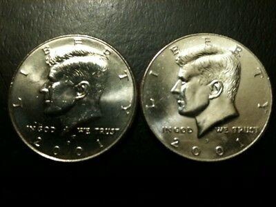 2001 P&D Kennedy Half Dollar UNC Set BU Clad no Silver 50 Cent Quarter MS Min