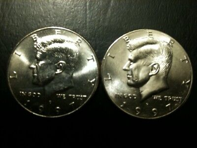 1997 P&D Kennedy Half Dollar Set AU/BU Clad no Silver 50 Cent About UNC MS Mint