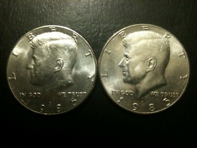 1985 P&D Kennedy Half Dollar Set AU/BU Clad no Silver US 50 Cent Quarter Mint