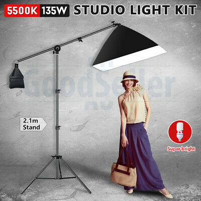 Photography Studio Soft Box Boom Arm Light Stand Continuous Softbox Lighting Kit