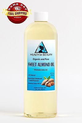 SWEET ALMOND OIL ORGANIC by H&B Oils Center COLD PRESSED PREMIUM 100% PURE 16 OZ