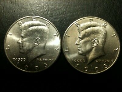 1993 P&D Kennedy Half Dollar Set AU/BU Clad no Silver US 50 Cent Quarter Mint