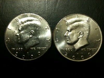 2000 P&D Kennedy Half Dollar Set AU+/BU Clad no Silver 50 Cent About UNC MS 50c
