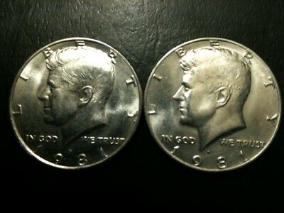 1981 P&D Kennedy Half Dollar Set AU/BU Clad no Silver 50 Cent About UNC PD Mint