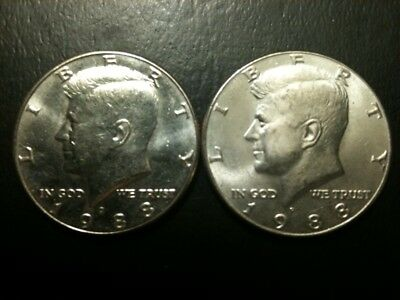 1988 P&D Kennedy Half Dollar Set AU/BU Clad no Silver US 50 Cent Quarter Mint