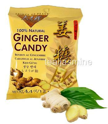 GINGER CHEWS CANDY Prince of Peace 100% Natural Individually Wrapped  4.4 Oz.