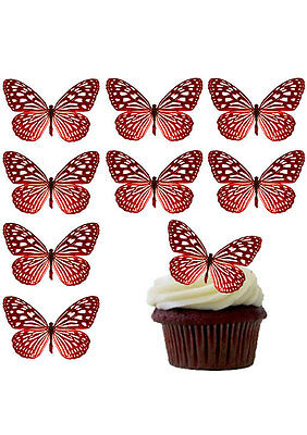 Large Lovely Red Butterflies Edible Wafer Paper Cup Cake Toppers Decorations