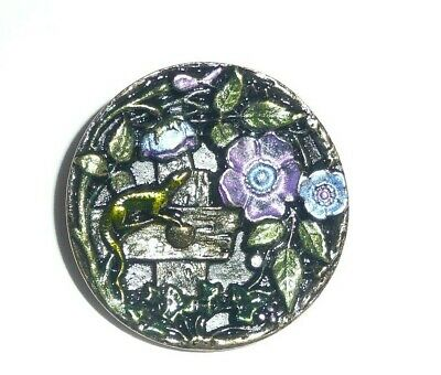 Hand Painted Antique Reproduction Flowers & Lizard Metal Shank Button